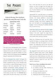 fairytale of new york worksheet free esl printable worksheets
