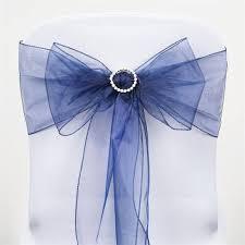 navy blue chair sashes sheer organza chair sash navy blue 5pcs efavormart