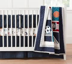 Sports Toddler Bedding Sets Liam Sports Baby Bedding Set Pottery Barn