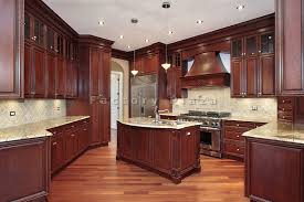 cherry kitchen cabinets with dark floors stunning home design