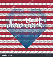 Embroidered American Flag Vector Calligraphy Lettering New York Sweater Stock Vector