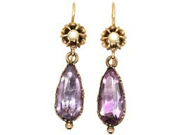 amethyst drop earrings regency 15ct gold pearl foiled amethyst drop earrings