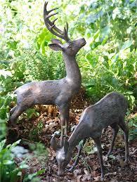 two large deer set of metal garden ornaments gardensite co uk