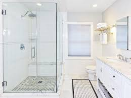 white subway tile shower with chair rail gray grout ceaabccccf