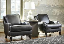 Black Accent Chairs For Living Room Black Faux Leather Accent Chair With Nailhead Trim By Signature