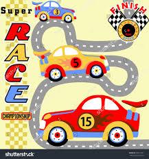 cartoon race car race car competition kids t shirt stock vector 606677201