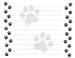 writing paper borders black and white paw prints border frame on a dotted line black and white paw prints border frame on a dotted line background stock vector