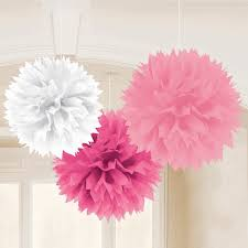 one 3 set of 16 inch girlie pink fluffy tissue