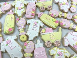 pink yellow and white baby cookies 3 sweet girls cakery