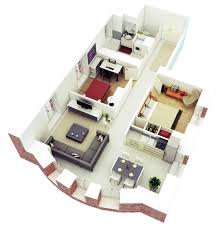 One Bedroom Open Floor Plans 3d One Bedroom Small House Floor Plans For Single Man Or Woman Are