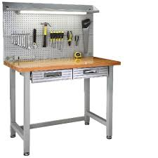 wood top work table seville classics garage lighted workbench wood top steel frame work