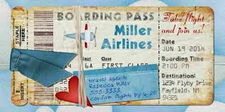 airplane boarding pass invitation for birthday party bon