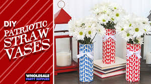 DIY Patriotic Straw Vases