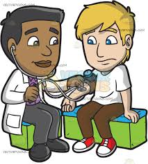 a doctor checking the blood pressure of his male patient cartoon