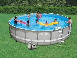 Ideas Nice Intex Ultra Frame Pool With Round Blue Wrap