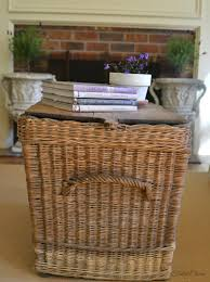blanket wire basket near the fireplace for blankets and pillows