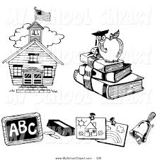clip art of a coloring page of a house book worm chalk