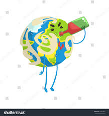 wine emoji drunk cartoon earth planet character drinking stock vector