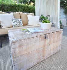 5 essentials for a cozy outdoor cabana diy whitewashed trunk coffee table project