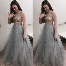 light gray long dress elegant long prom dress light grey ball gown crew with beaded