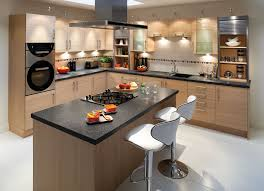 design small kitchens black granite countertops brown solid wood