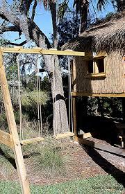 garrett u0027s lofted tiki hut swing set custom kids playhouse spots