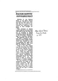 Malcolm X Disputes Nonviolence Policy New York Times June p Columbia     ASB Th  ringen