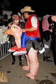 Ostrich Halloween Costume Riding An Inflatable Ostrich