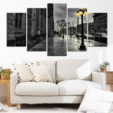 Retro Living Room Art Modern Canvas Pictures Retro Ink Paintings City Street Landscape
