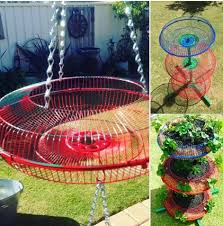 Recycled Garden Art Ideas - a great way to recycle the metal guards off no longer used fans