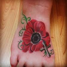 29 poppy flowers foot tattoos
