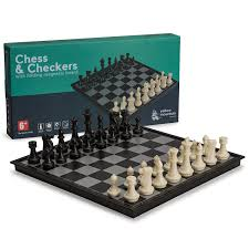 amazon com 2 in 1 travel magnetic chess and checkers game set 14