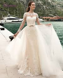 wedding dress with detachable chagne lace mermad wedding dresses detachable
