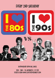 i love the 80s vs 90s christmas party tickets bloomsbury bowling