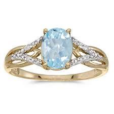 aquamarine diamond ring 10k yellow gold oval aquamarine and diamond ring jewelry