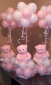 teddy centerpieces for baby shower centros de mesa con globos y peluche para baby showers