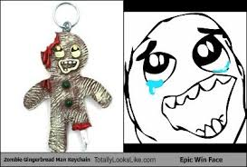 Epic Win Meme - zombie gingerbread man keychain totally looks like epic win face