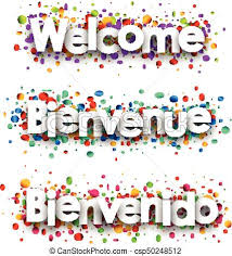 welcome paper banner with confetti welcome white paper vector