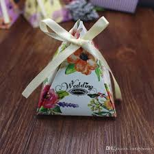 triangle wedding favor boxes candy box printed paper wedding