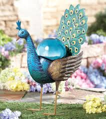 Gazing Ball Pedestals Beautiful Metal Peacock W Blue Gazing Ball Garden Statue