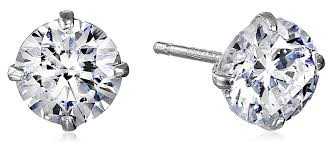 gold earring studs 10k white gold stud earring set with cut