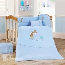Giraffe Bed Set Adorable Blue Giraffe 9 Baby Crib Bedding Set Beddinginn