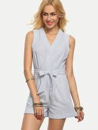 white romper jumpsuit preppy blue and white striped romper jumpsuit with tie and pockets