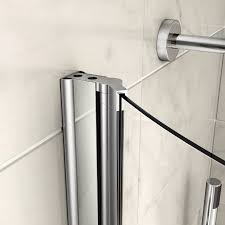 left hand p shaped shower bath 1700mm tub screen with towel rail