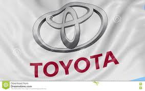 logo de toyota ciérrese para arriba de bandera que agita con el logotipo de
