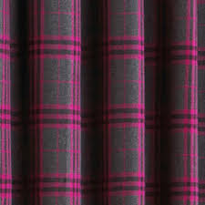 Pink Tartan Curtains Zermatt Tartan Check Lined Eyelet Curtains Fuchsia 90 X 90 Inch