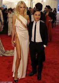 met gala 2012 anja rubik u0027does an angelina jolie right leg u0027 at