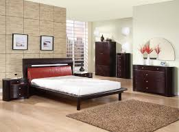 interior modern beige bedroom with stone accent wall alongside