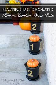 beautiful fall decorated house number plant pots