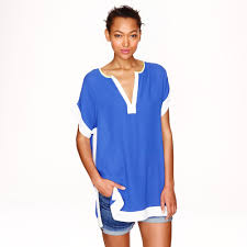 j crew colorblock tunic in blue lyst